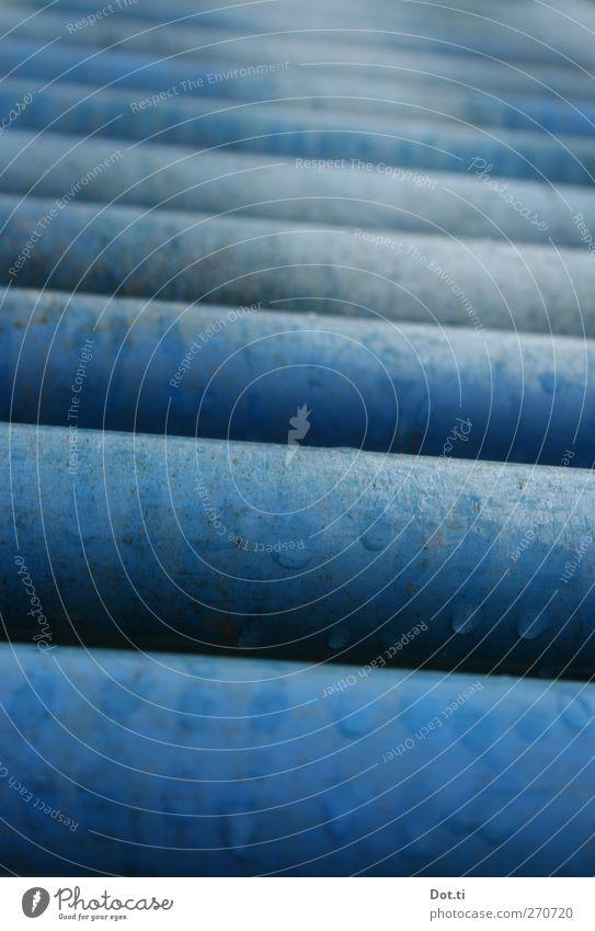 et loops Technology Industry Metal Wet Blue Coil Moving pavement rolling conveyor Transport Rod Logistics Tilt Drops of water Colour photo Exterior shot