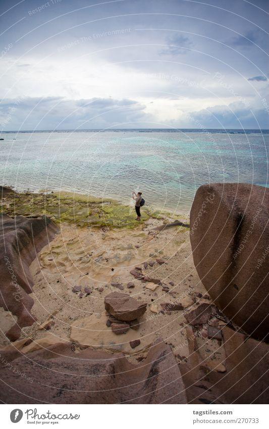 ANSE SOURCE D'ARGENT, LA DIGUE La Digue anse source d'argent Seychelles Africa Vacation & Travel Travel photography Woman Beach Sand Ocean Horizon Granite