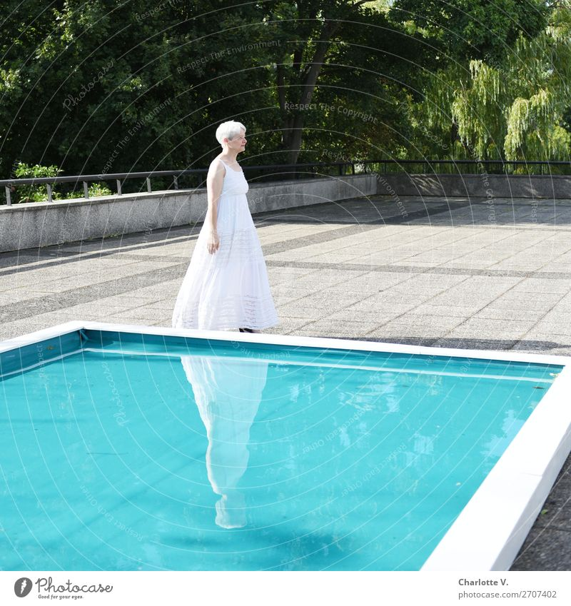 Aging | Spend more time at the pool Summer Human being Feminine Woman Adults Senior citizen 1 45 - 60 years Water Beautiful weather Swimming pool Terrace