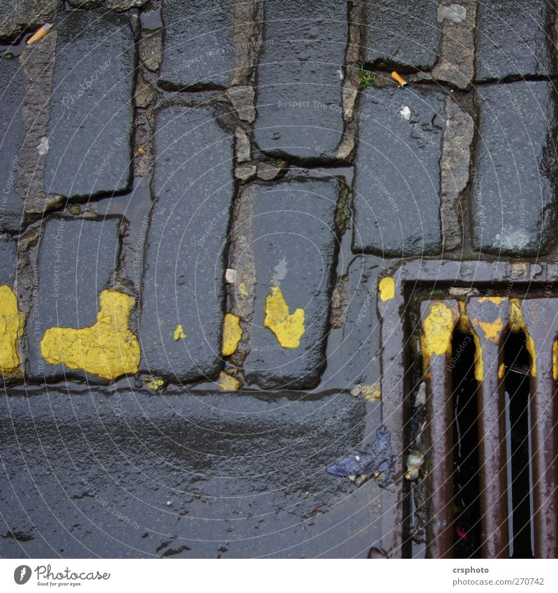 "View into the abyss Street ""gully paving stone mark stones Kerbstone"" Old Dark Trashy Yellow Wet Rust Colour photo Exterior shot Close-up Copy Space top Day"