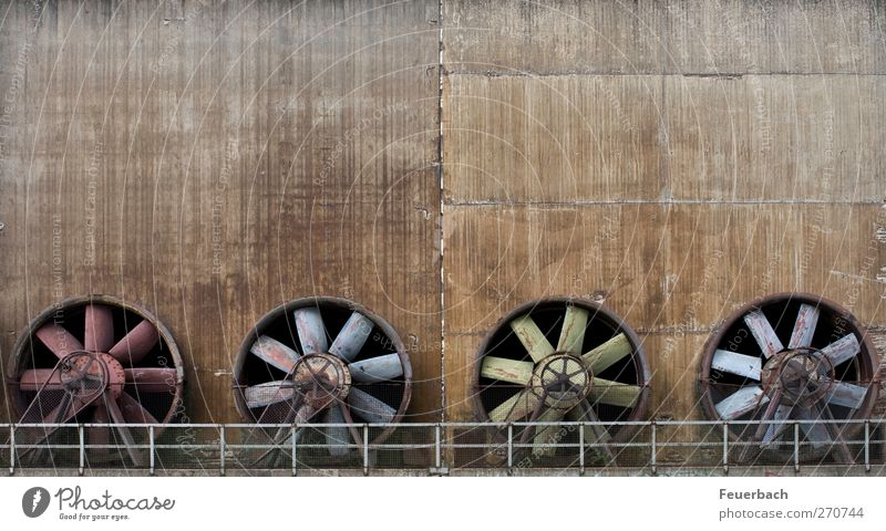 fan quartet Machinery Industry Sculpture Architecture Wind Industrial plant Factory Wall (barrier) Wall (building) Concrete Metal Steel Rust Esthetic Gigantic