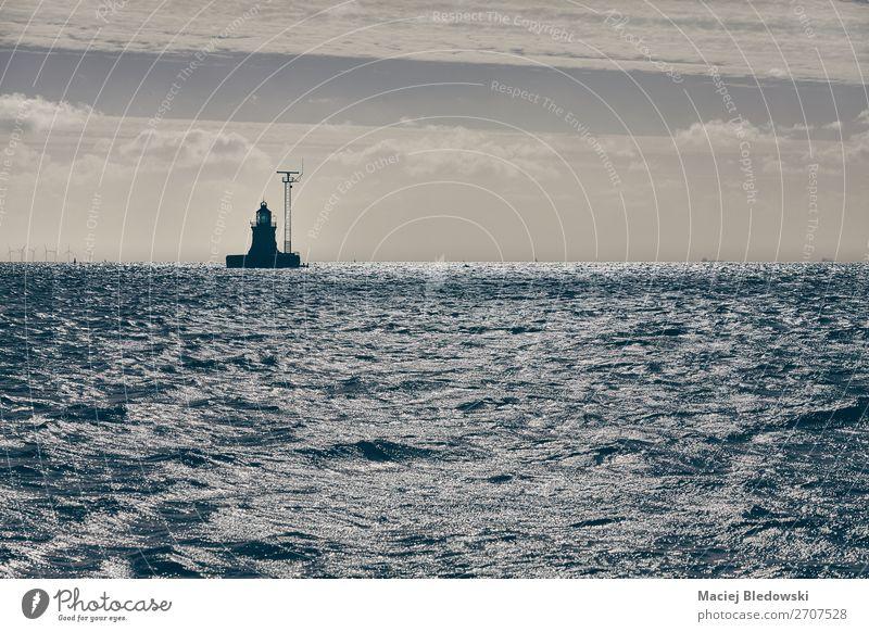 Beacon on the horizon. Vacation & Travel Cruise Ocean Landscape Sky Waves Coast Maritime Safety Adventure Horizon Nostalgia Calm beacon navigation water
