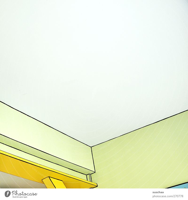 corners and edges Line Sharp-edged Bright Cold Ease Symmetry Room Ceiling Wall (building) Corner Perspective Comic Colour photo Multicoloured Interior shot