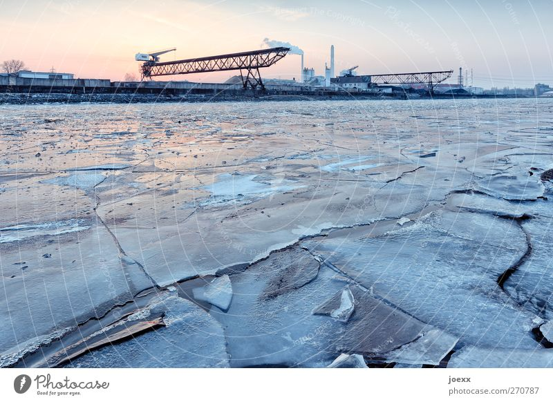 Delicious ice cream Sky Winter Beautiful weather Ice Frost River Harbour Cold Blue Orange Black rhine harbour Colour photo Exterior shot Deserted Evening