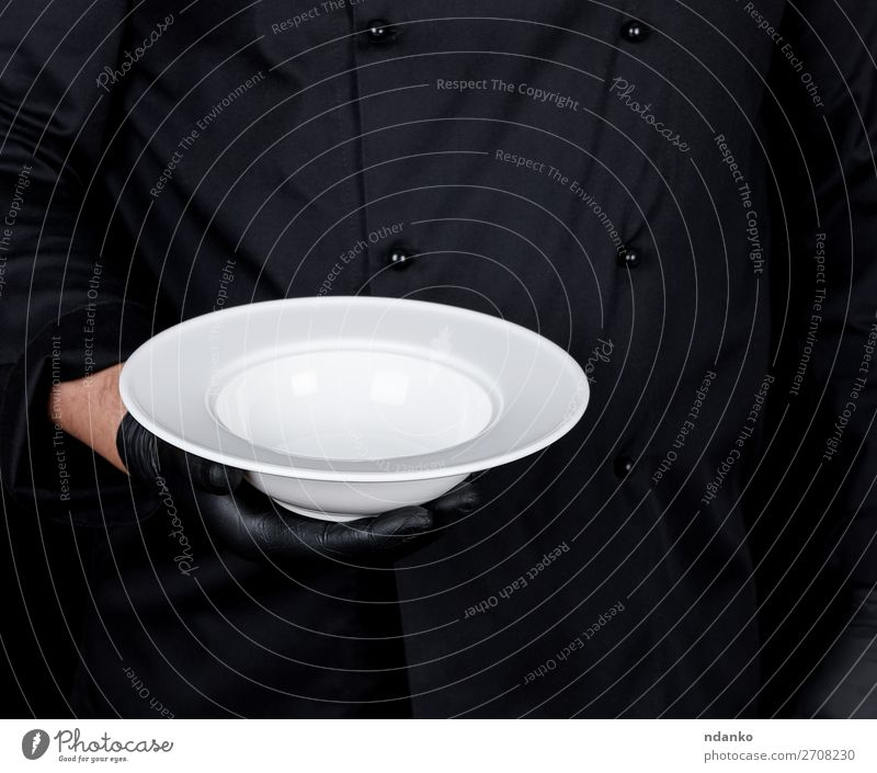 round empty white plate Soup Stew Plate Kitchen Restaurant Profession Human being Man Adults Hand Gloves Dark Black White Caucasian chef cook cooking copy
