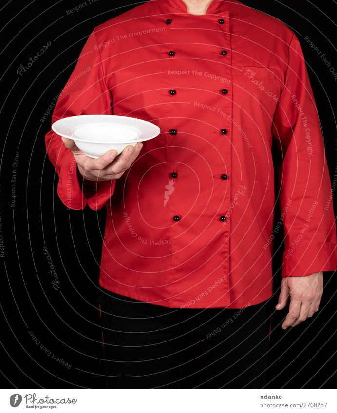 chef in red uniform Human being Man White Red Hand Dish Dark Black Adults Stand Kitchen Clean Profession Indicate Restaurant Services
