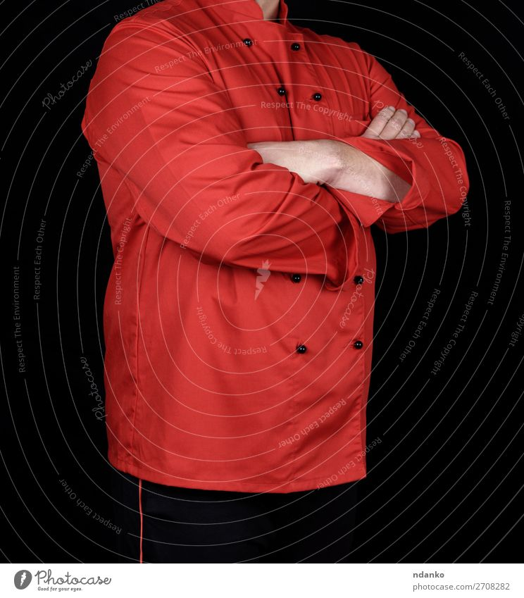 chef in red uniform and black pants Kitchen Restaurant Work and employment Profession Human being Man Adults Hand 1 30 - 45 years Clothing Shirt Suit Jacket