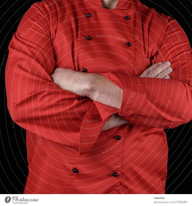 chef in red uniform crossed his arms over his chest Man Red Hand Black Adults Style Elegant Stand Clothing Kitchen Symbols and metaphors Profession Restaurant