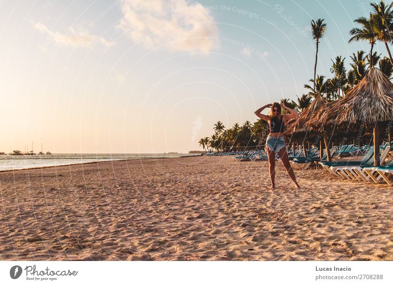 Girl at Bavaro Beaches in Punta Cana, Dominican Republic Happy Vacation & Travel Tourism Summer Ocean Island Woman Adults Environment Nature Sand Tree Leaf