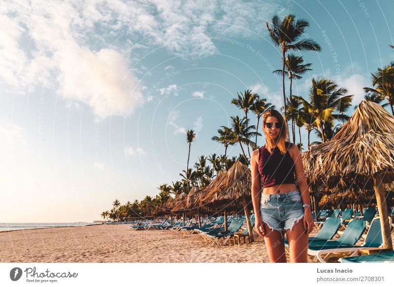 Girl at Bavaro Beaches in Punta Cana, Dominican Republic Happy Relaxation Spa Vacation & Travel Tourism Summer Ocean Island Woman Adults Environment Nature Sand
