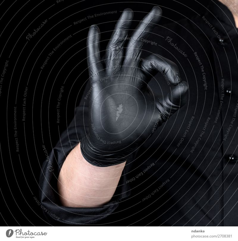 male chef's hand in black latex gloves Kitchen Profession Cook Human being Man Adults Hand Fingers 1 30 - 45 years Gloves Good Black Gesture sign successful