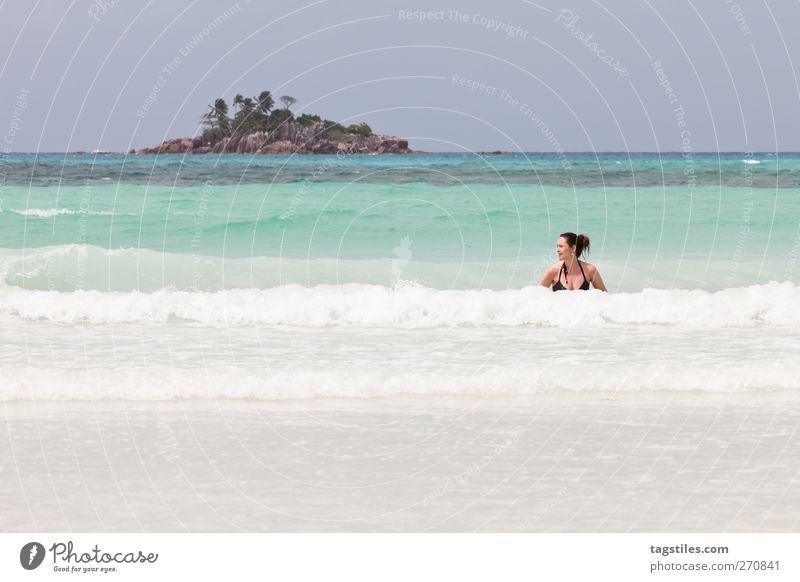 ST. PIERRE Woman Ocean Seychelles Saint-Pierre Praslin Nature Vacation & Travel Relaxation Swimming & Bathing Float in the water Waves Surf Island