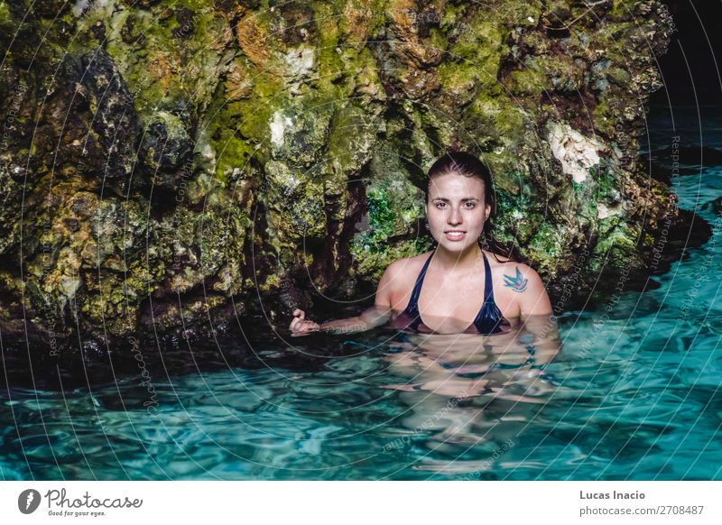 Girl at Hoyo Azul in Punta Cana, Dominican Republic Happy Vacation & Travel Tourism Summer Island Woman Adults Blonde Red-haired Smiling Happiness Blue