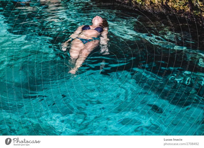 Girl at Hoyo Azul in Punta Cana, Dominican Republic Happy Vacation & Travel Tourism Summer Island Human being Feminine Young woman Youth (Young adults) Woman