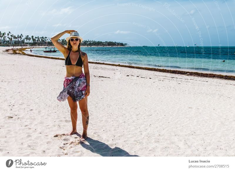 Girl at Bavaro Beaches in Punta Cana, Dominican Republic Happy Vacation & Travel Tourism Summer Ocean Island Woman Adults Environment Nature Sand Coast Blonde