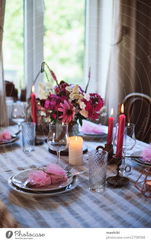 romantic summer dinner in cozy country house. Lunch Dinner Banquet Plate Cutlery Elegant Summer House (Residential Structure) Garden Decoration Table Restaurant