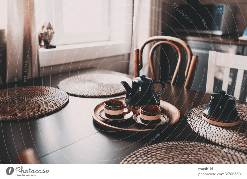 rustic kitchen in brown and grey tones Breakfast Coffee Style Design House (Residential Structure) Decoration Furniture Chair Table Kitchen Village Hut Wood