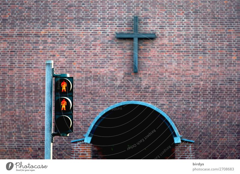 red pedestrian light in front of a church entrance, no entrance, symbolic picture Church Wall (barrier) Wall (building) Pedestrian Traffic light Brick Sign