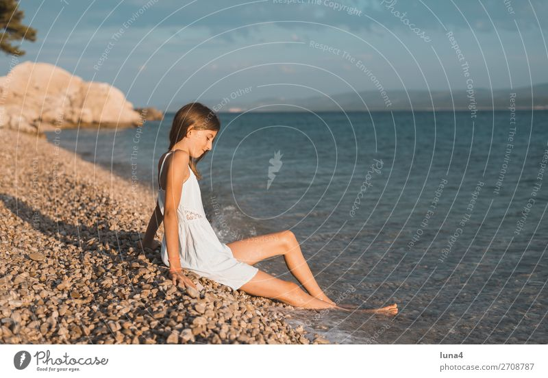 girl on the beach Lifestyle Happy Relaxation Calm Leisure and hobbies Vacation & Travel Tourism Summer Beach Ocean Girl Environment Nature Landscape Water Rock