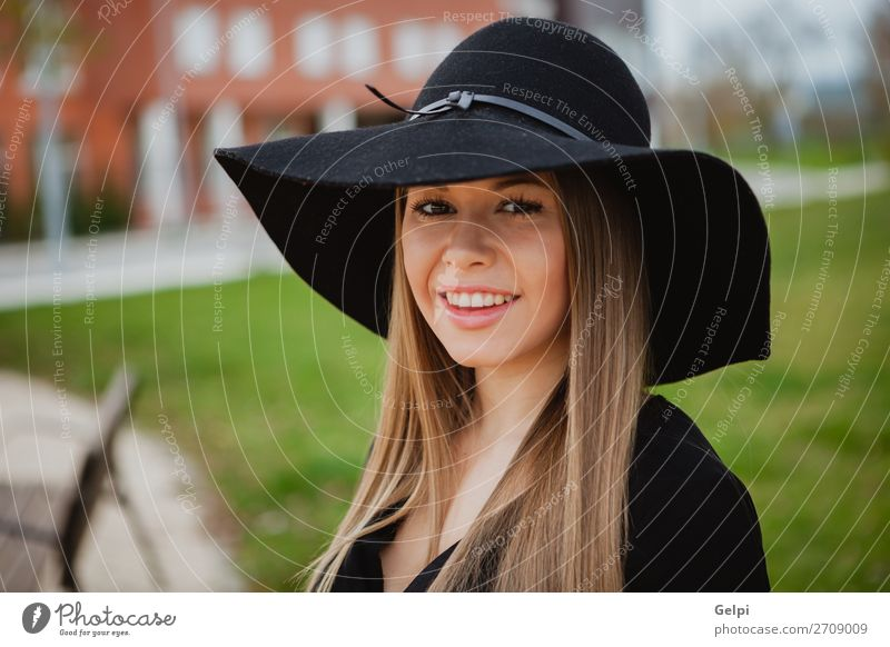 Pretty girl wearing hat Lifestyle Style Joy Happy Beautiful Face Make-up Human being Woman Adults Nature Park Street Fashion Clothing Hat Blonde Eroticism Cute