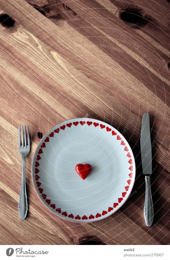Not from bread alone Crockery Plate Cutlery Knives Fork Style Wood Steel Sign Think To enjoy Wait Simple Retro Round Brown White Hospitality Hope Heart Love