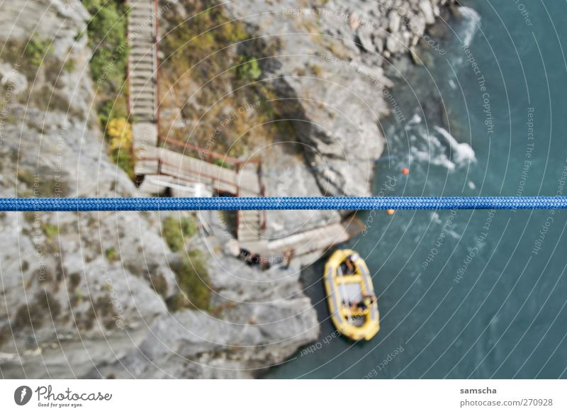 In the Canyon Vacation & Travel Nature Water Rock River bank Dinghy Under Blue New Zealand Queenstown Watercraft Rope look down Bird's-eye view Above Downward