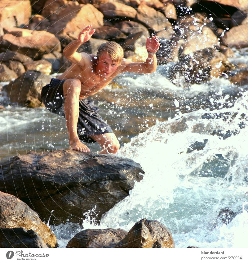Human being Youth (Young adults) Water Vacation & Travel Beautiful Adults Swimming & Bathing Waves Rock Blonde Masculine 18 - 30 years Drops of water Individual