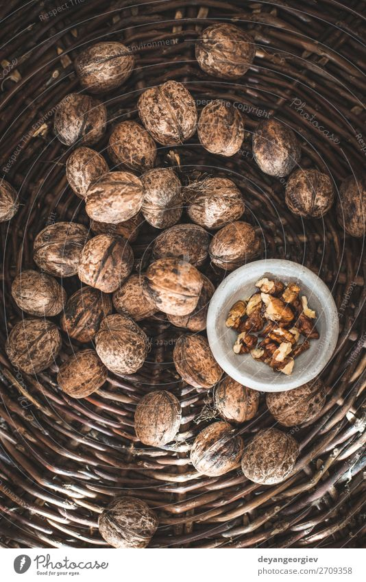 Walnuts in a vintage basket. Nature Old Autumn Natural Brown Authentic Bowl To break (something) Hard Organic Shell Mussel shell Nutshell