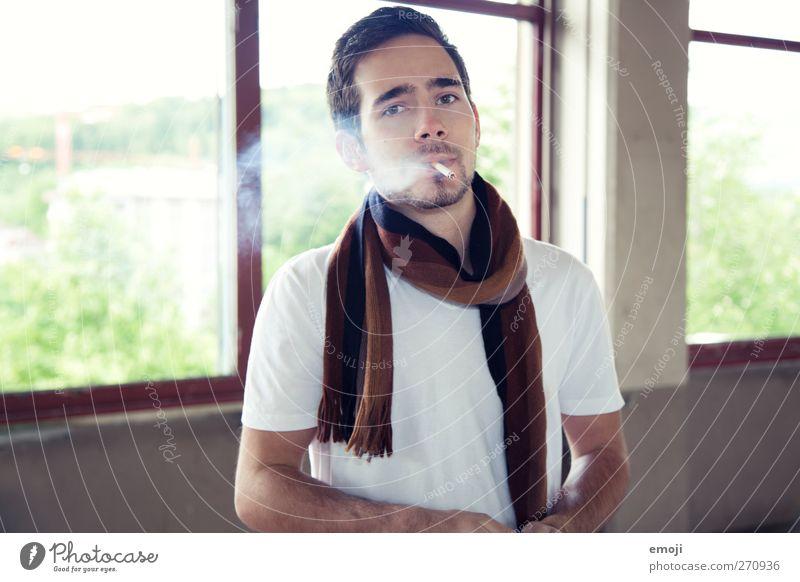 Human being Youth (Young adults) Beautiful Adults Fashion Young man Masculine 18 - 30 years T-shirt Smoking Scarf