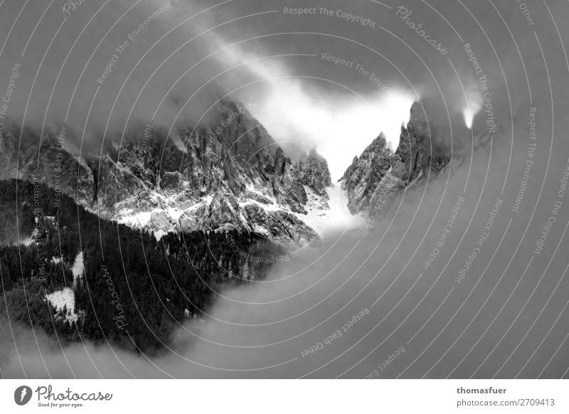 Sky Nature Landscape Clouds Winter Far-off places Mountain Dark Snow Rock Trip Hiking Fog Adventure Threat Peak