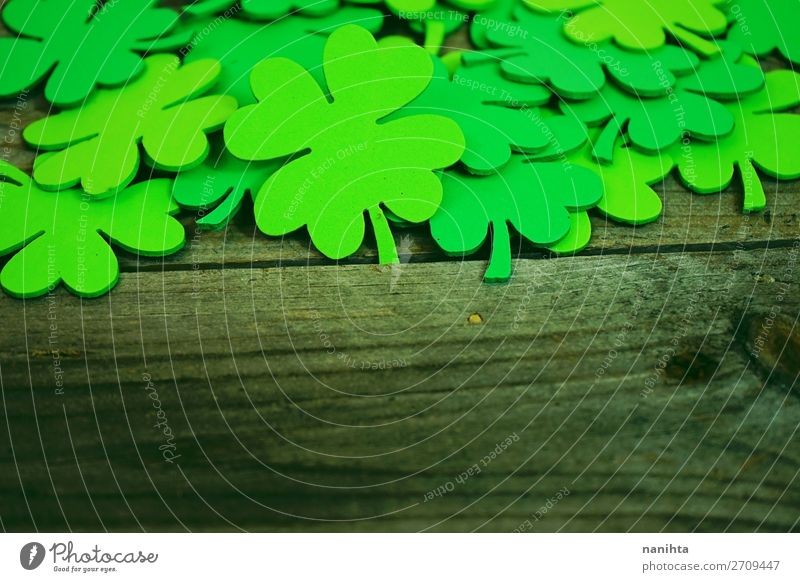 Beautiful close-up of a pile of green shamrocks Design Happy Table Wallpaper Feasts & Celebrations Culture Leaf Paper Wood Ornament Hip & trendy Green Colour