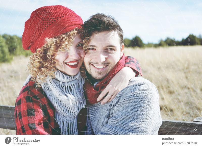 Romantic young couple of lovers Woman Human being Man Beautiful Red Joy Lifestyle Adults Wood Autumn Love Funny Feminine Family & Relations Happy