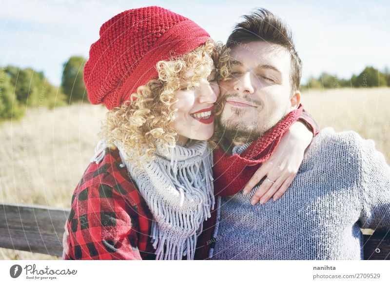 Romantic and happy young couple Woman Human being Man Beautiful Red Joy Lifestyle Adults Wood Autumn Love Funny Feminine Family & Relations Happy