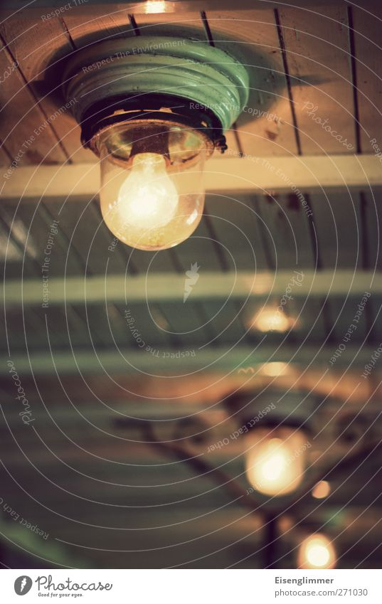 The good old light bulb Electric bulb Skylight Ceiling light Wood Glass Old Hot Bright Round Light Flare Electricity Energy Colour photo Interior shot Deserted