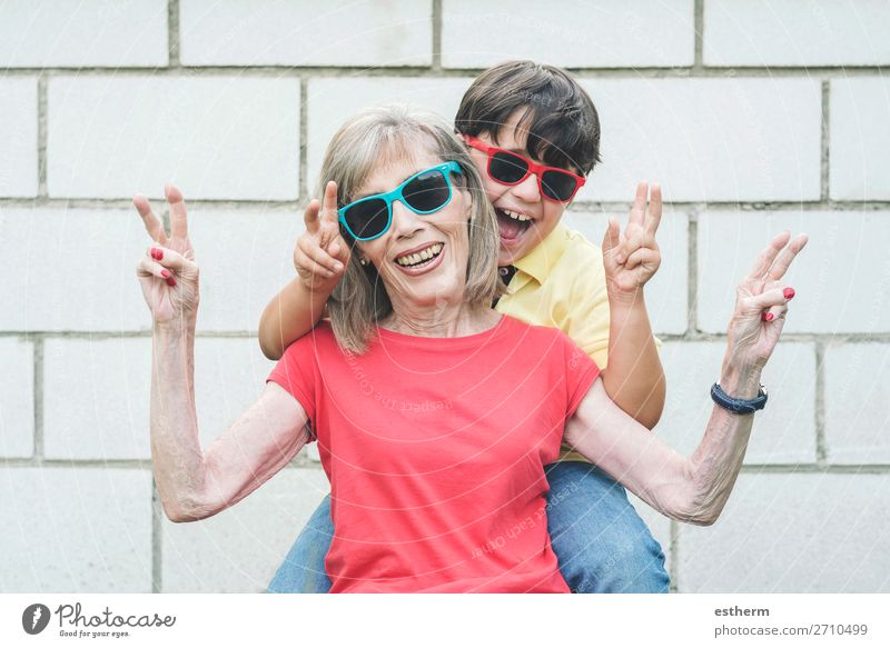 funny Grandmother and Grandson with sunglasses Child Human being Vacation & Travel Old Summer Joy Lifestyle Love Senior citizen Funny Feminine Emotions