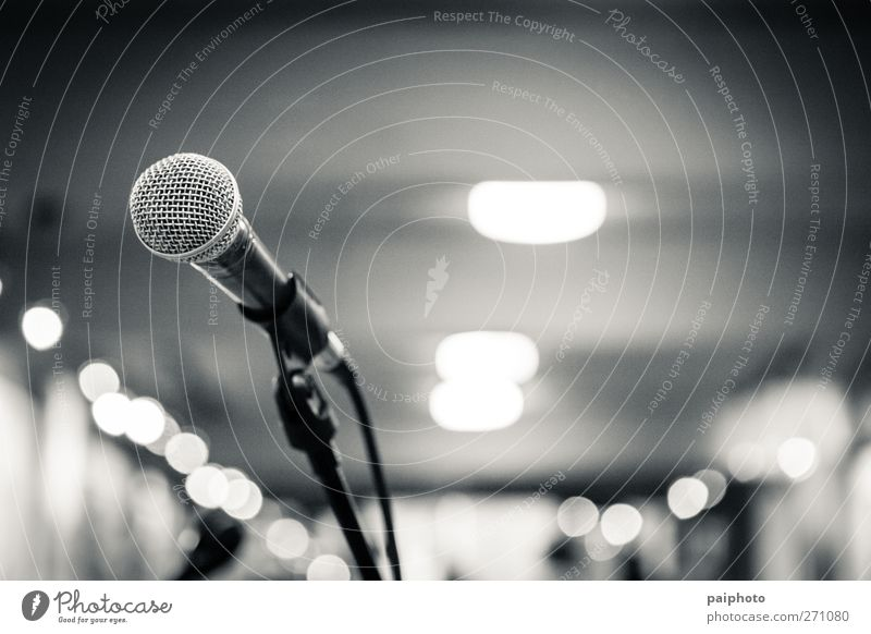microphone 1 Black & white photo música francesa Microphone Microphone lead Concert Music Empty Hall