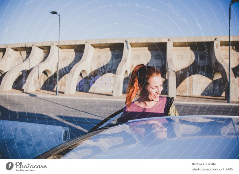 Young Red haired Woman traveling in a car Human being Youth (Young adults) Young woman Beautiful Street Lifestyle Adults Feminine Movement Laughter Style