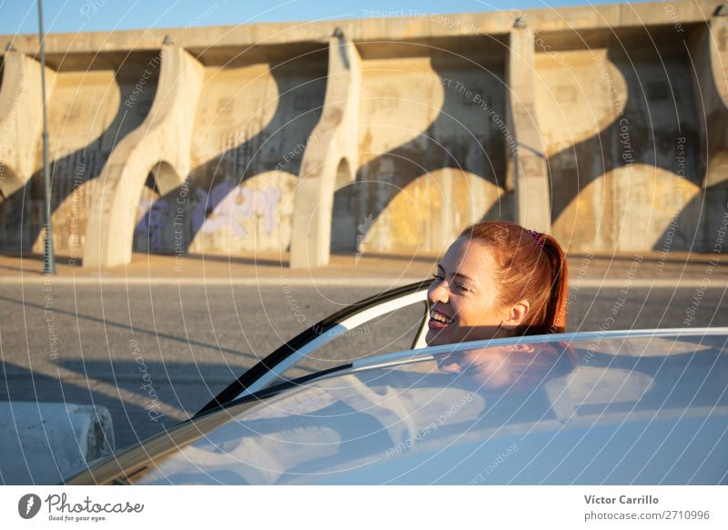 Young Red haired Woman traveling in a car Lifestyle Young woman Youth (Young adults) Adults 1 Human being 30 - 45 years Transport Vehicle Car
