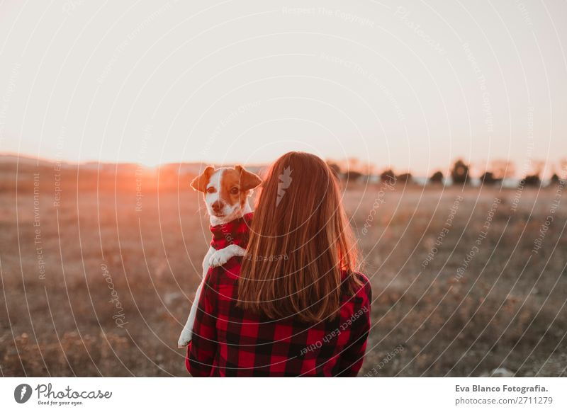 woman and dog at sunset matching clothes Nature Dog Beautiful Landscape Red Animal Joy Black Lifestyle Autumn Natural Happy Small Fashion Brown Friendship