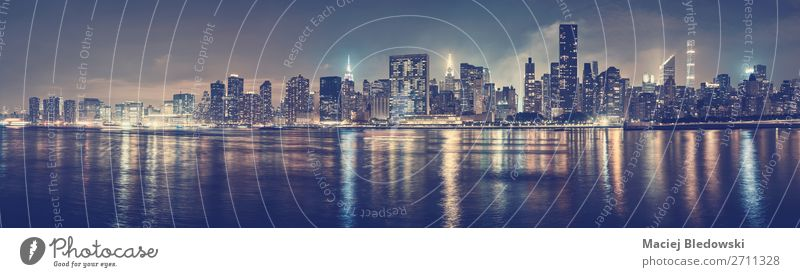 New York City skyline at night, USA. Shopping Luxury Elegant Style Money Sightseeing City trip Office Sky River Downtown Skyline House (Residential Structure)