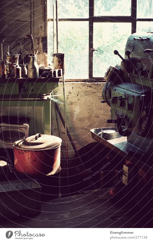 Workshop I Tool Machinery Transience Oil can Window Pot Colour photo Interior shot Close-up Deserted Copy Space top Copy Space bottom Day Light Contrast