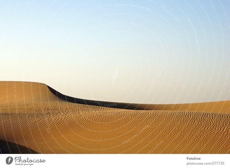 desert Environment Nature Landscape Elements Earth Sand Sky Cloudless sky Desert Hot Bright Natural Blue Brown desert sand Colour photo Multicoloured