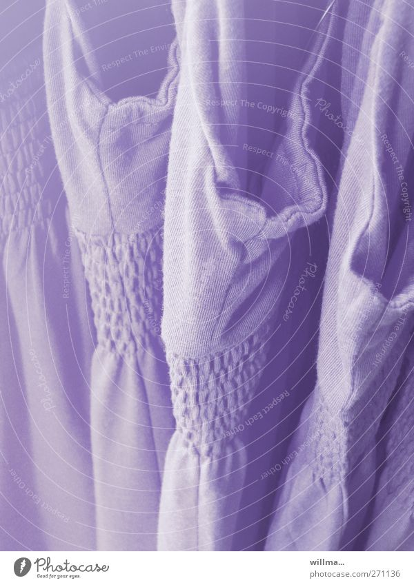 smokeless Shopping Trade Fashion Clothing Dress Violet Summery Summer dress Selection Sell smocked Colour photo Exterior shot Detail Deserted
