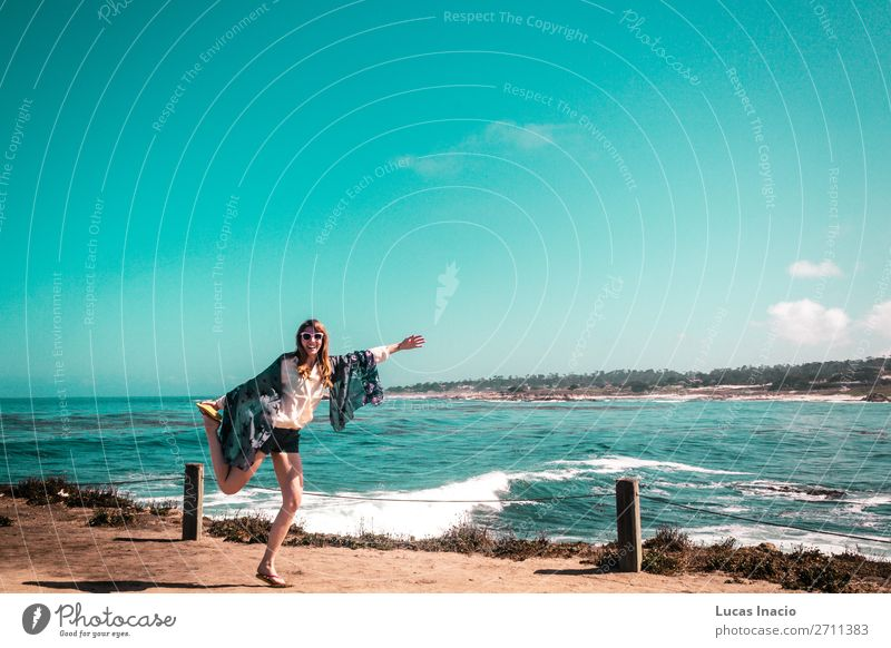 Young Girl near Pacific Ocean in California Vacation & Travel Tourism Summer Beach Feminine Young woman Youth (Young adults) Woman Adults Environment Nature