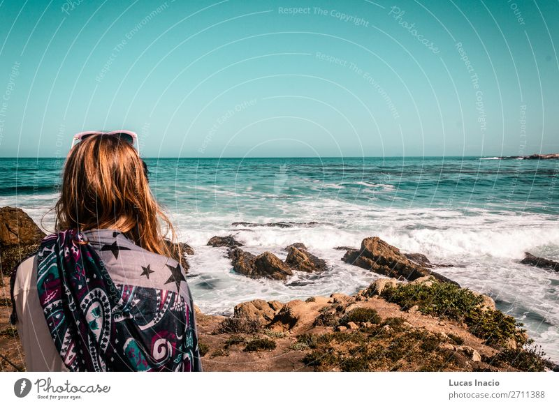 Girl starring at the sea at California Coast Vacation & Travel Tourism Trip Adventure Summer Summer vacation Beach Ocean Waves Human being Feminine Young woman