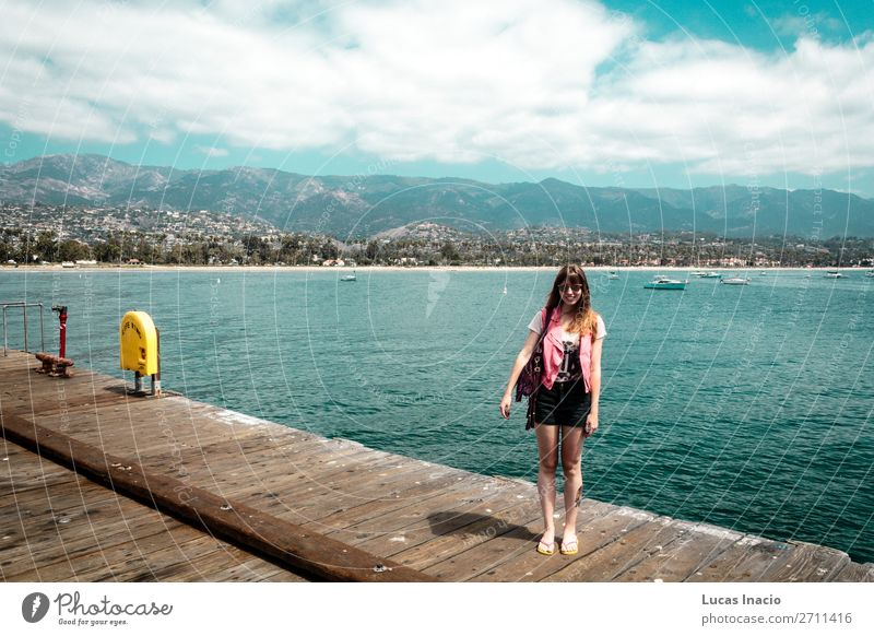 Girl at Santa Barbara Pier in California Vacation & Travel Tourism Summer Beach Ocean Mountain Woman Adults Environment Nature Landscape Sand Sky Hill Coast