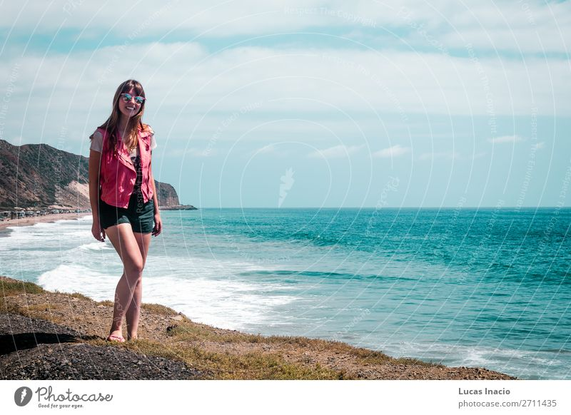 Girl and Oceanview from California Coast, United States Vacation & Travel Tourism Trip Adventure Summer Beach Mountain Feminine Young woman Youth (Young adults)