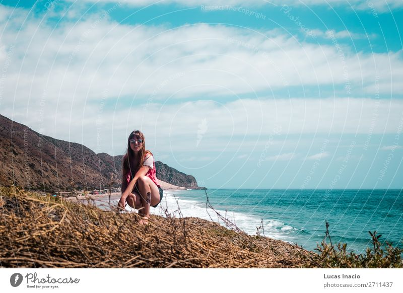 Girl and Oceanview from California Coast, United States Vacation & Travel Tourism Trip Adventure Summer Beach Mountain Woman Adults Environment Nature Landscape