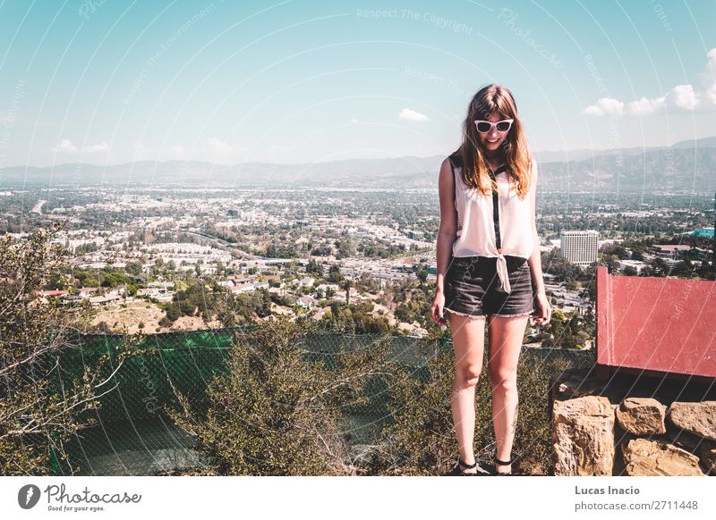 Girl at Hollywood Hills with panoramic view of Los Angeles Vacation & Travel Tourism Mountain House (Residential Structure) Woman Adults Environment Nature