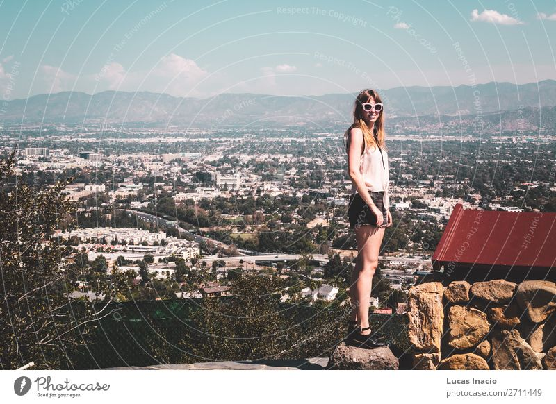 Girl at Hollywood Hills with panoramic view of Los Angeles Vacation & Travel Tourism Sightseeing Summer Summer vacation Sun Mountain